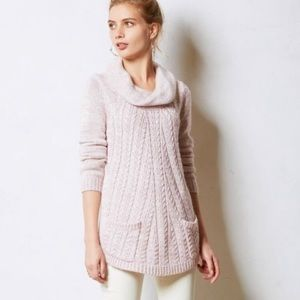 ANTHROPOLOGIE GUINEVERE CABLE COWL NECK SWEATER